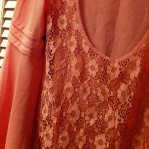 Fab'rik orange pink blush Boho mesh lace top